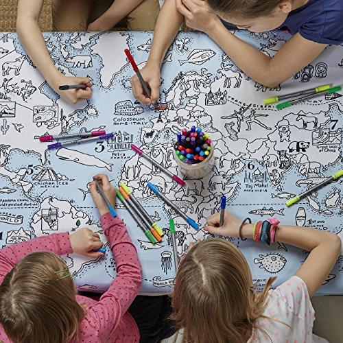 eatsleepdoodle [イートスリープドゥードゥル] world map tablecloth テーブルクロス(ワールドマップ) mapts