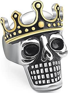 JAJAFOOK Gold Plated Vintage Stainless Steel King Skull Crown Biker Men's Ring, Silver Black Gold