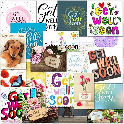 Pack of 20 Mixed Get Well Premium Greeting Cards