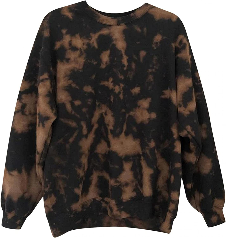Crewneck Sweatshirts for Women Teen Girls Pullover Bleached Tie Dye Vintage Long Sleeve Loose Sweatshirt Graphic Tops Shirts