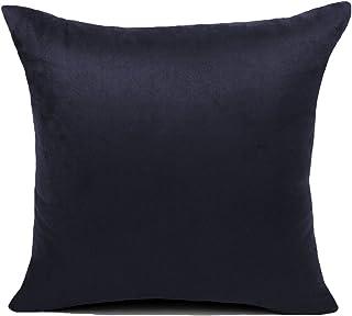 KAMIXIN - Fundas de cojín o almohada cuadradas de ante para el hogar, de colores lisos, para sofá, cama o asiento de coche, tela, negro, 65x65cm=26
