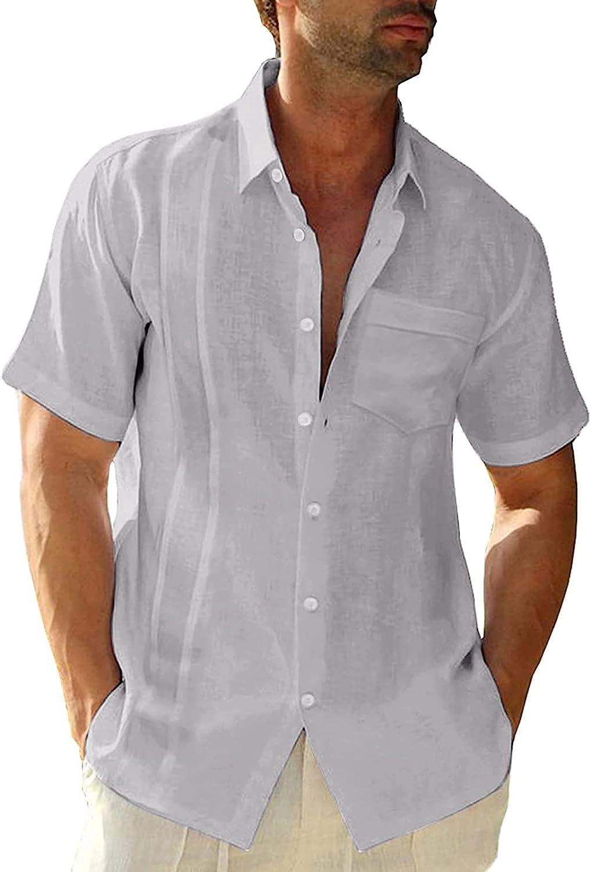 JSPOYOU Mens Short Sleeve Shirt Linen Cotton Hippie Beach Button Down Shirts Summer Casual Loose Lapel Beach T-Shirts
