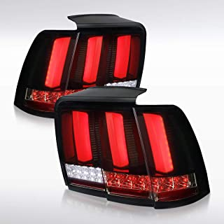 Autozensation For Ford Mustang Glossy Black Dark Smoke LED Sequential Brake Tail Lights Pair