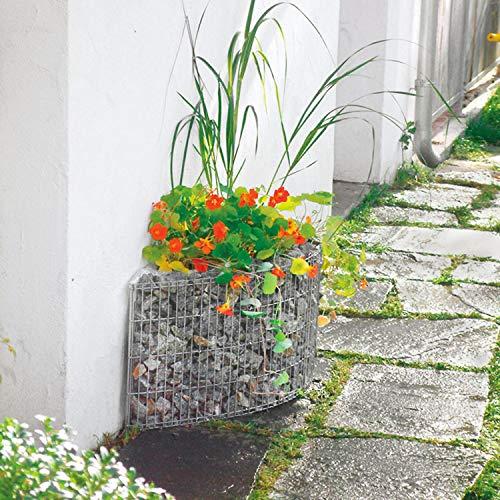 bellissa Gabionen-Beet für die Hauswand - 95590 - Schmaler Steinkorb-Pflanzkübel für Wände und Mauern - Bausatz inkl. Trennfolie - 118 x 35 x 40 cm