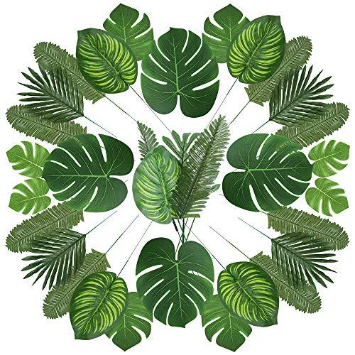Auihiay-Lot de 90feuilles de palmier et de plantes artificielles avec tiges, 6sortes pour décoration de fête tropicale, de plage, d'anniversaire, de fête sur la thème de la jungle