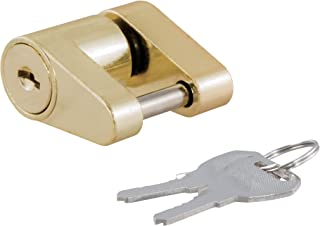CURT 23022 Brass-Plated Steel Trailer Tongue Lock 1/4-Inch Pin Diameter, Up to 3/4-Inch Coupler Span