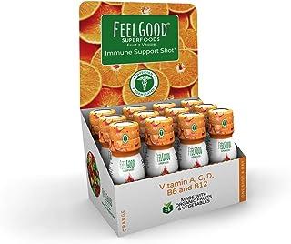 Immune Support Shot | 12 Pack Orange | 25 Organic Fruits & Veggies | Vitamins A, C, D, B6 and B12 | Gluten Free, Non-GMO &...