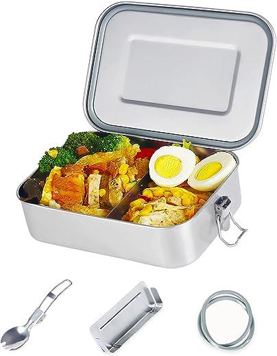 esafio Edelstahl Brotdose 1400ml Auslaufsicher mit Trennwand Zwei Dichtringen Plastikfreie Premium 304 Stahl Metall Lunchboxes & Bento Boxen für…