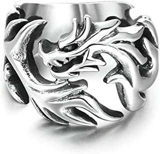 Gungneer Stainless Steel Dragon Ring Gothic Pattern Steampunk Jewelry Rebel Metal Accessory for Mens Womens 7/8/9/10/11/12/13