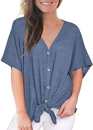 Xavigio Women's V-Neck Short Bat Sleeve Waffle Tunic Tie Knot Henley Blouse Tops Casual Loose Plain Shirts