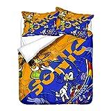 Sonic The Hedgehog - Juego de ropa de cama infantil con funda de almohada (A-05, 200 x 200 cm (50 x 75 cm)
