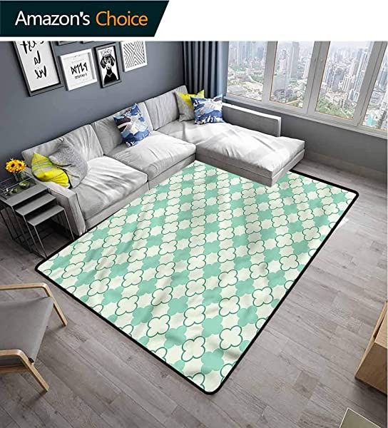 TableCoversHome Mint Nautical Area Rug Bedroom Floral Motif Feminine Pattern Printing Carpet Fashionable High Class Living Bedroom Rugs 6 X 9