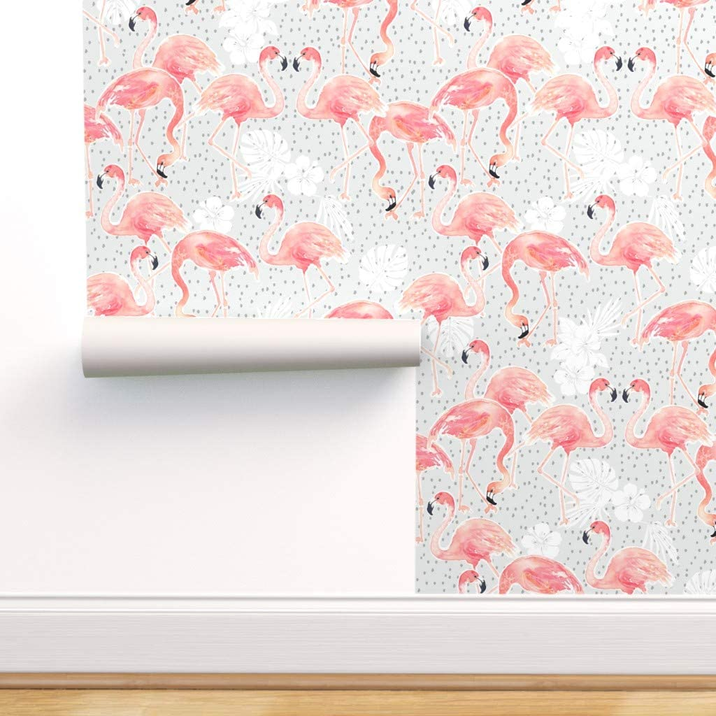 Spoonflower Pre-Pasted Removable 今だけ限定15%OFFクーポン発行中 Wallpaper Baby 卸売り Flamingo Summer