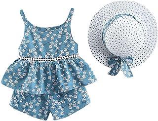 TWIFER_été_ Enfant en Bas âge bébé Enfants Filles Robes de Princesse à Pois sans Manches Bow Hat Outfits_1 2 3 4 5 6 7 9 A...