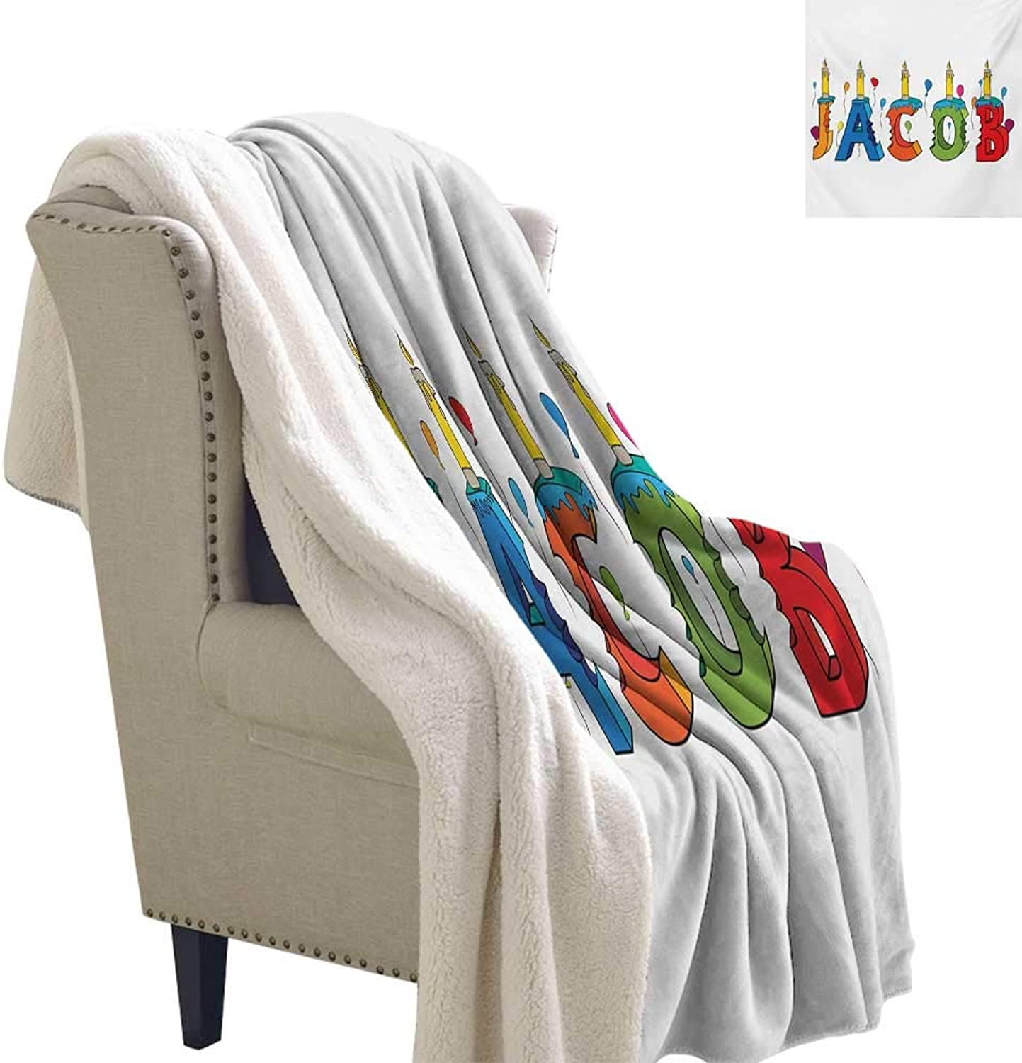 Sunnyhome Jacob Flannel Bed Blankets 60x32 Inch Cartoon colorful Festive Letters Spelling Male Name Surprise Birthday Party Kids Print Summer Quilt Comforter Multicolor