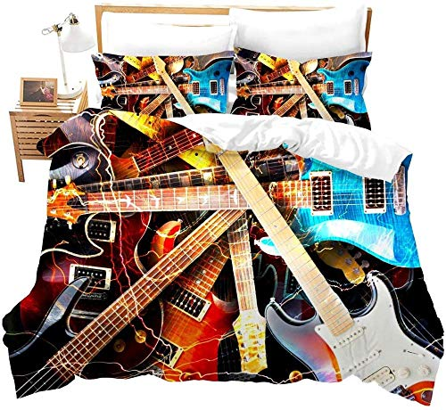 Touoahi Duvet Set Rock Music Red Blue Guitar Personality Pattern Single (135 X 200 Cm) Easy Care Cotton Blend Bedding 1 Quilt Cover And 2 Pillow Cases Bedroom Decorative Bed Set Zipper Closure Bedroo
