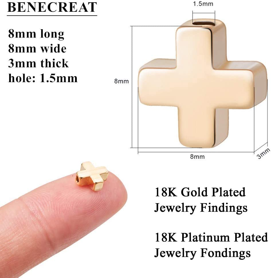 6x4mm BENECREAT 30 PCS 18K Gold Plated Coulum Spacer Beads Metal Tube Loose Beads for DIY Jewelry Making Findings and Other Craft Work