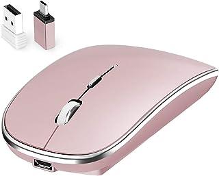Mouse Inalámbrico,Leolee Ratón Recargable Wireless 2.4G Ergonómico óptico Silencioso Click con Receptor USB y Tipo-c Adapt...