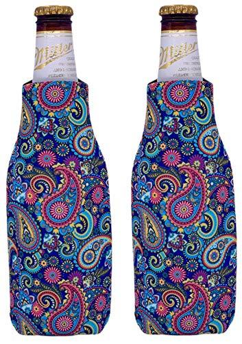 Paisley Pattern Beer Bottle Coolie 2 Pack