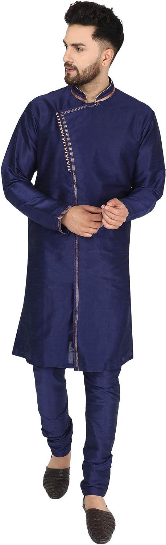 SKAVIJ Men's Art Silk Kurta Pajama Indian Wedding Party Festive Season Ethnic Suit Dress Set