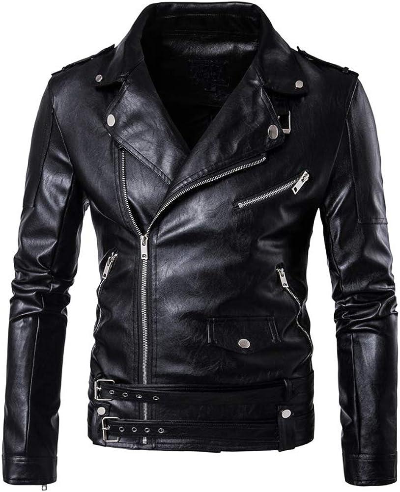 Lavnis Men's PU Leather Jacket Causal Belted Faux Leather Motorcycle Jacket Zipper Biker Coat