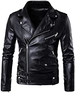 Men's PU Leather Jacket Causal Belted Faux Leather Motorcycle Jacket Zipper Biker Coat