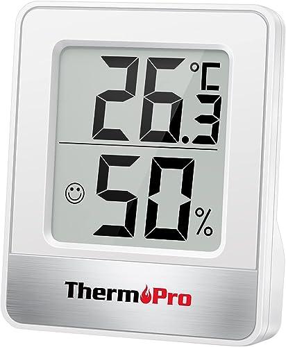 ThermoPro TP49 Petit Hygromètre Numérique Thermomètre Intérieur Thermomètre D'ambiance Moniteur de Température et Hum...