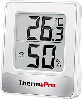 ThermoPro TP49 cyfrowy mini termometr, higrometr, pomiar temperatury i wilgotności powietrza, ze wskaźnikiem uśmiechu, do ...