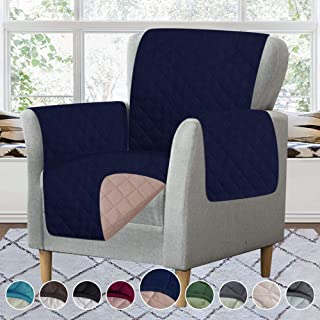 RHF Reversible Chair Cover, Chair Cover, Chair Cover for Dogs, Pet Cover for Chair, Chair Slipcover, Chair Protector, Machine Washable, Double Diamond Quilted(Chair: Navy/Sand)