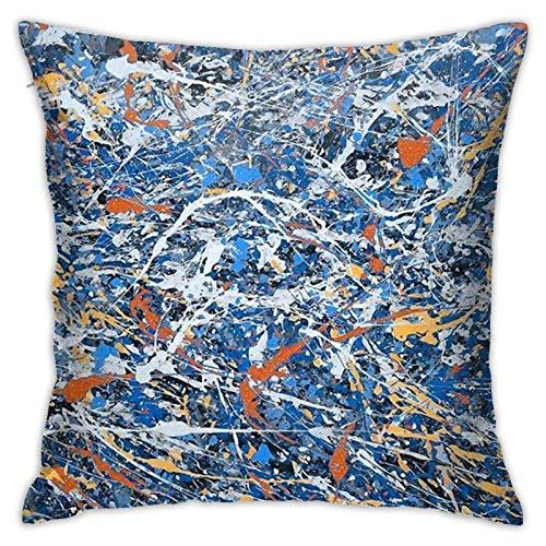 zaoyang Jackson Pollock Kunstdruck Samt Kissenbezug Gemütlicher Samt Quadrat Kissen Kissenbezug Home Dekorativ für Bett Couch Sofa Wohnzimmer Kissenbezüge 18 'X18'
