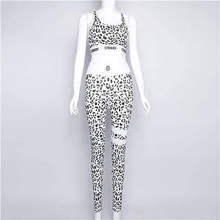 OneChange Gym Two Sets of Women's Sportswear Gym Suit Yoga Clothes Sport Women's Sports Bra and Leggings Suit (Color : Kha...