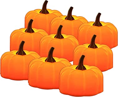 Aulaygo Halloween Tealights Orange Pumpkin Flameless Candle Light 12 Pcs Battery Operated Amber Fake LED Tea Lights for Indoor Outdoor Christmas Festival Wedding Theme Party Home Decor Yellow Flicker