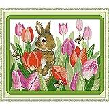 Punto de cruz Set El Conejo En los tulipanes Pintura Contado impresas en lienzo 11CT 14CT de punto de cruz labores de mano Establece bordado ( Cross Stitch Fabric CT number : 14CT counted product )