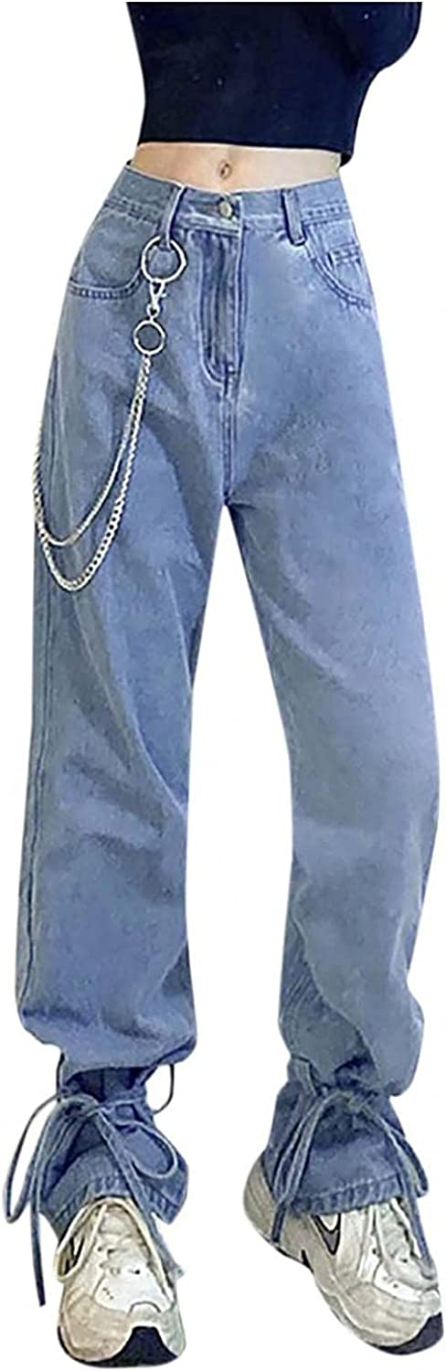 Fudule Fashion Y2K Jeans for Women Wide Leg Straight Denim Jeans Loose High Waisted Denim Pants with Holes Streetwear