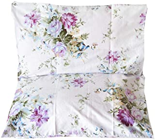 YIH 2 Piece 400 Thread Count 100% Cotton Pillow Cases Purple Floral, White Standard Size Pillow Shams, Soft & Silky Pillow...