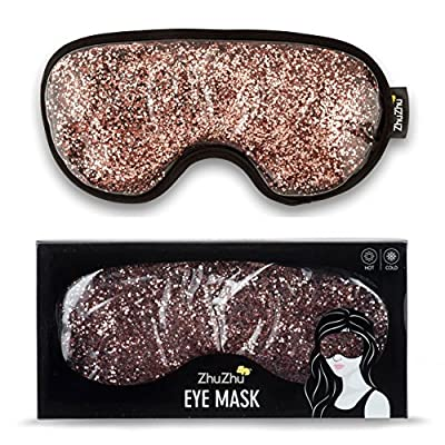 Zhu-Zhu Glitter Gel Hot & Cold Eye Mask - Therapeutic Soothing Relief for Migraines, Sinus Pain, Tension Headaches, Allergies, Puffy and Tired Eyes - Rose Gold