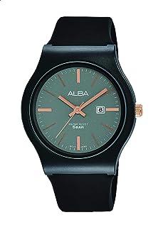 ساعة يد حريمي انالوج انيقة بتصميم دائري مصنوعة من السيليكون ومقاومة للماء AH7U61X - اسود