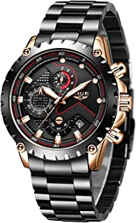 LIGE Mens Male Watches Fashion Luxury Elegant Sport Waterproof Chronograph Gents Watch for Men Classic Casual Analog Quartz Wrist Watch with Silver Black Stainless Steel Watches Man