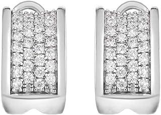 Tuscany 纯银铑方晶锆石小宽耳钉