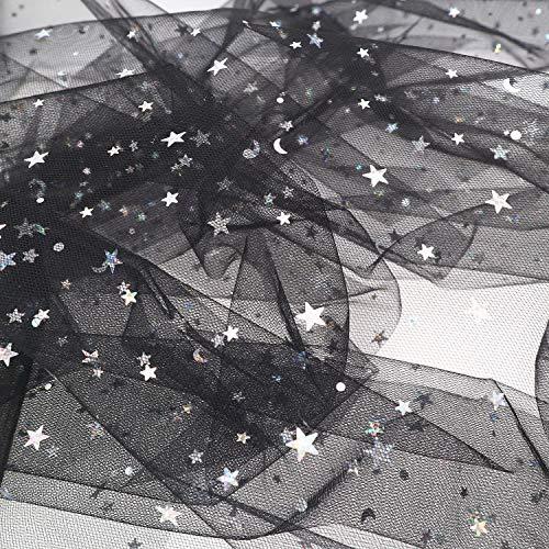 "ZAIONE Sparkle Glitter Star Sequin Tulle Fabric 5 Yards Width 59"" Tutu Mesh Net Party Wedding Background Decoration Bridal Dress Making DIY Craft (Black)"