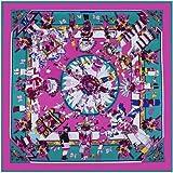 AHUIOPL Luxury Brand 100% Seta Square Hopi Print Fazzoletto indiano Feather Sciarpe di seta femminile di alta qualità Lady Foulard, Rose
