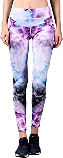 WOSAWE Women's High-Rise Crystal-Printed Yoga Leggings Workout Tights