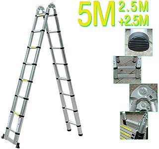 Escalera telescópica de 5 M Escalera de aluminio Carga máxima multifuncional 150 kg Pasos antideslizantes ...