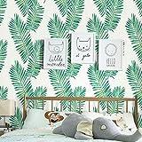Papel Pintado Wallpaper Autoadhesiva verde de la hoja del papel pintado nórdica fresca Material del papel pintado del PVC Conveniente for Habitación Sala de Estudio del estudiante universitario compar