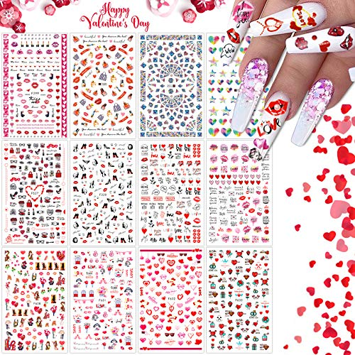 12 Blatt 3D Nagelsticker für Frauen Mädchen, EBANKU Blume Rose Herz Nail Art Stickers Nagel Abziehbilder für Frauen Mädchen Nagelzehe Maniküre Tipp Make-up Dekoration