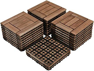 Yaheetech 27PCS Wood Flooring Decking Deck Tiles Interlocking Patio Pavers Tiles Solid Wood and Plastic Indoor Outdoor 12 x 12in Brown
