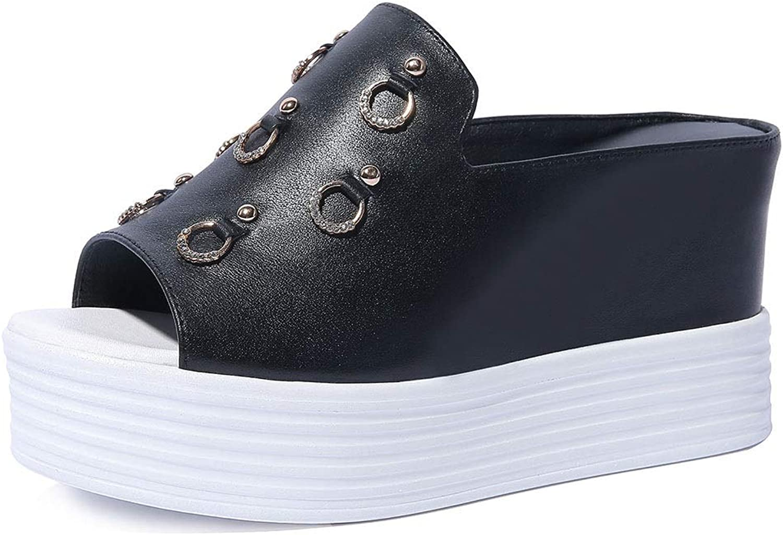Women's Fashion High-Heeled Sandals Wedges Platform Half Drag Sandals shoes Lightweight Sandals (color   C, Size   37)