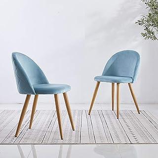 OFCASA 2 sillas de comedor modernas de terciopelo azul con asiento acolchado tapizado de cocina sillas de madera pintadas patas de metal para sala de estar, hogar o salón