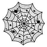 DII 40' Round Polyester Lace Table Topper, Black Spider Web - Perfect for Halloween, Dinner Parties and Scary Movie Nights