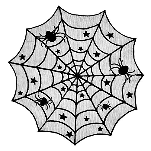 "DII 40"" Round Polyester Lace Table Topper, Black Spider Web - Perfect for Halloween, Dinner Parties and Scary Movie Nights"